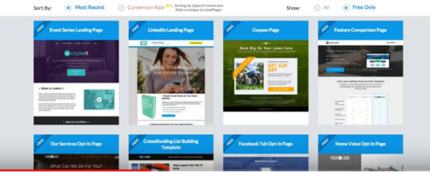 Templates available in Leadpages